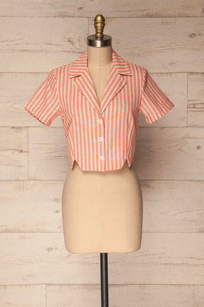Olesno Orange Striped Button-Up Crop Top | La Petite Garçonne 1