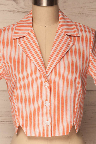 Olesno Orange Striped Button-Up Crop Top | La Petite Garçonne 2