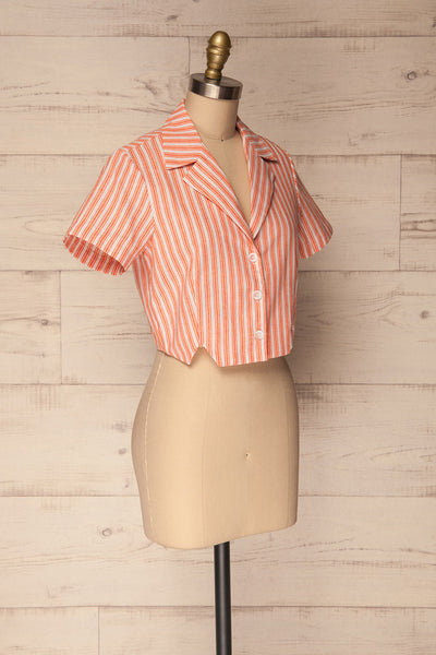 Olesno Orange Striped Button-Up Crop Top | La Petite Garçonne 3