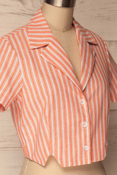 Olesno Orange Striped Button-Up Crop Top | La Petite Garçonne 4