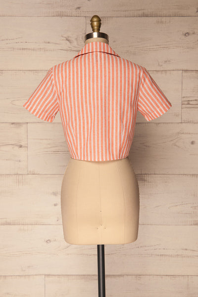 Olesno Orange Striped Button-Up Crop Top | La Petite Garçonne 5