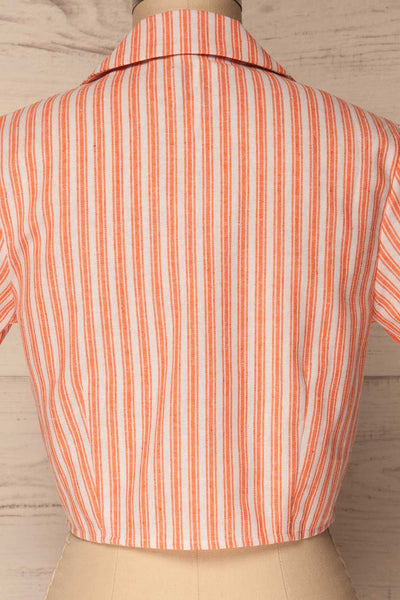 Olesno Orange Striped Button-Up Crop Top | La Petite Garçonne 6