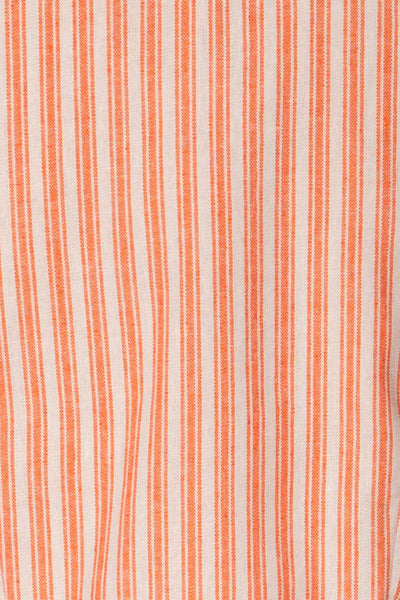Olesno Orange Striped Button-Up Crop Top | La Petite Garçonne 7