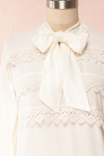 Olympa Ivory Blouse | Chemisier Ivoire front close up | Boutique 1861
