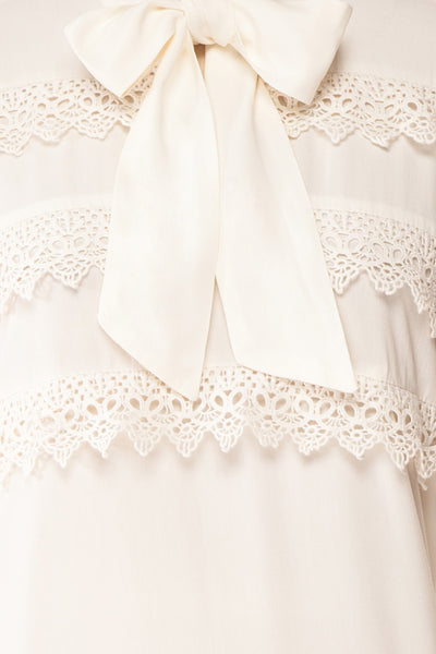 Olympa Ivory Blouse | Chemisier Ivoire fabric detail | Boutique 1861