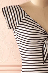 Omaira - Black and white striped fitted shirt