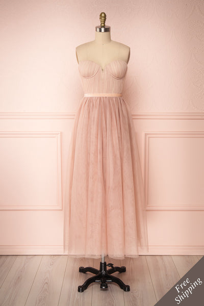 Ombeline Blush Pink Tulle Midi Bustier Dress | Boutique 1861 front view