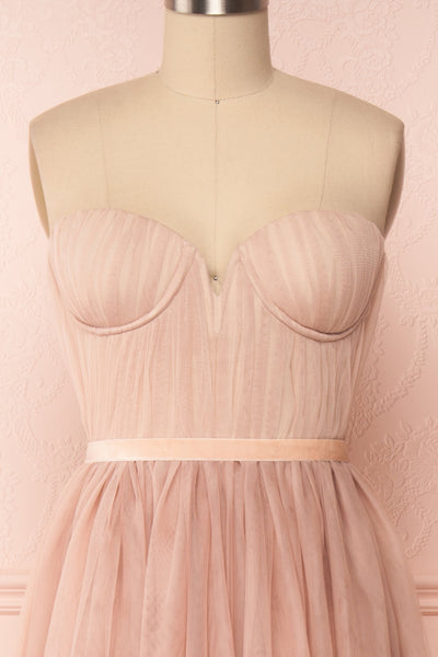 Ombeline Blush Pink Tulle Midi Bustier Dress | Boutique 1861 front close-up