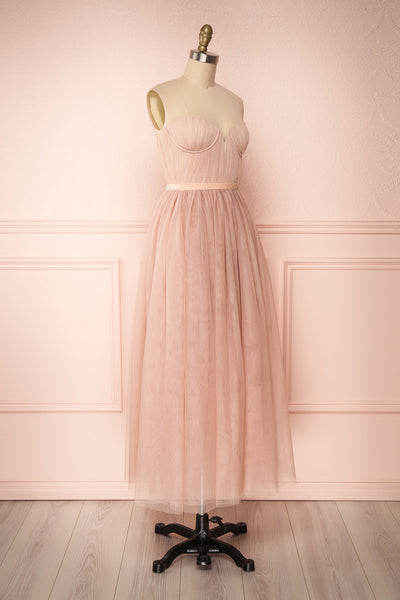 Ombeline Blush Pink Tulle Midi Bustier Dress | Boutique 1861 side view