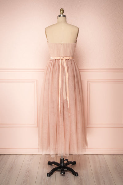 Ombeline Blush Pink Tulle Midi Bustier Dress | Boutique 1861 back view