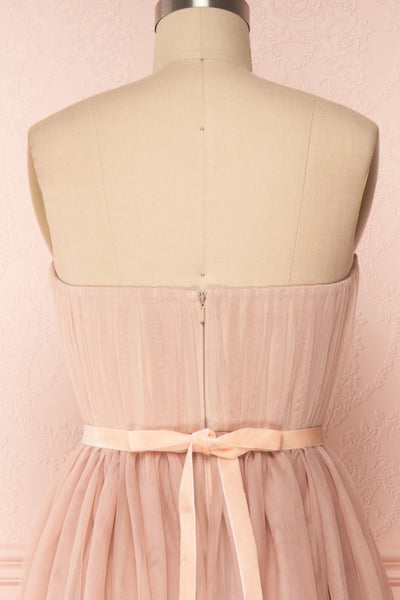 Ombeline Blush Pink Tulle Midi Bustier Dress | Boutique 1861 back close-up