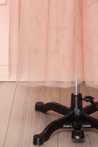 Ombeline Blush Pink Tulle Midi Bustier Dress | Boutique 1861 bottom close-up