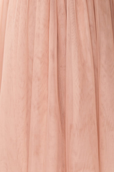 Ombeline Blush Pink Tulle Midi Bustier Dress | Boutique 1861 fabric detail