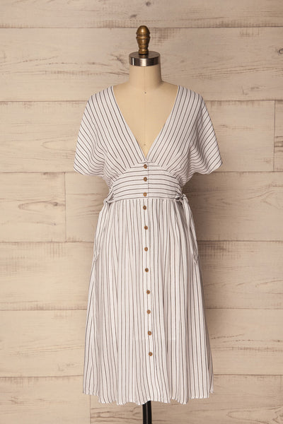 Onano White Striped Button-Up A-Line Dress | La Petite Garçonne