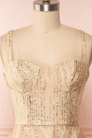 Ophelie Or Gold Party Dress | Robe Dorée front close up | Boutique 1861