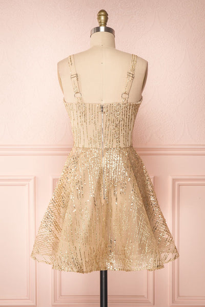 Ophelie Or Gold Party Dress | Robe Dorée back view | Boutique 1861