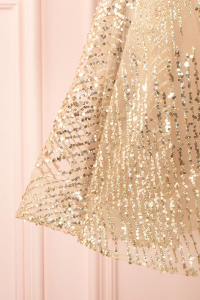 Ophelie Or Gold Party Dress | Robe Dorée skirt close up | Boutique 1861