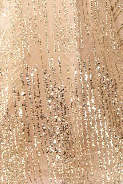 Ophelie Or Gold Party Dress | Robe Dorée fabric close up | Boutique 1861