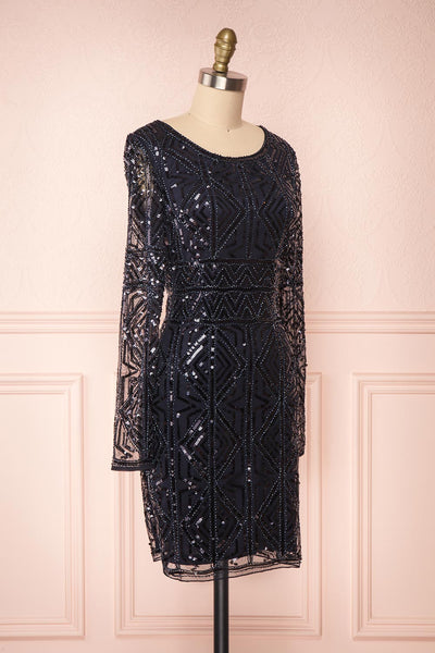 Opuhi Navy Blue Sequin Fitted Party Dress | Boutique 1861 side view