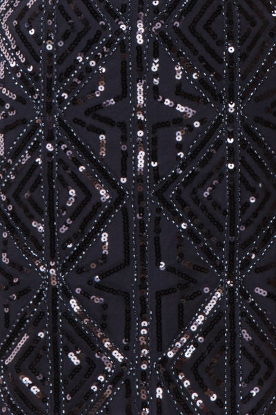 Opuhi Navy Blue Sequin Fitted Party Dress | Boutique 1861 fabric detail