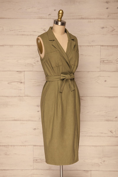 Orellana Khaki Midi Wrap Dress | La petite garçonne side view