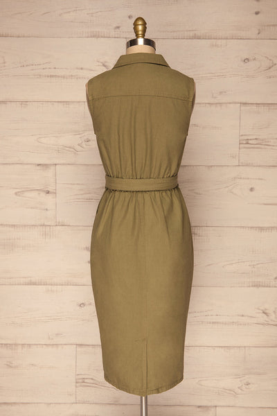 Orellana Khaki Midi Wrap Dress | La petite garçonne back view