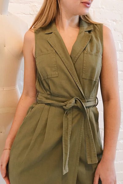 Orellana Khaki Midi Wrap Dress | La petite garçonne on model