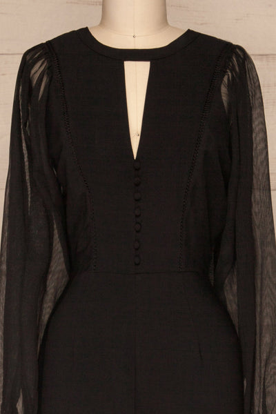 Orestiada Black Jumpsuit with Long Puff Sleeves | La Petite Garçonne front close-up