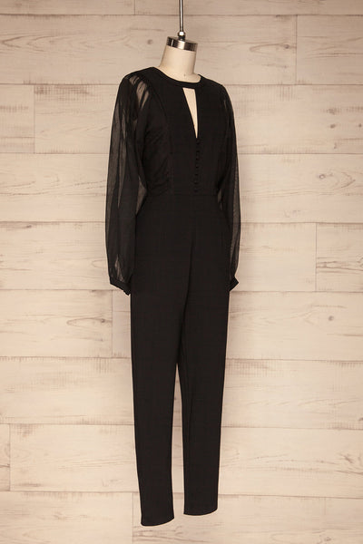 Orestiada Black Jumpsuit with Long Puff Sleeves | La Petite Garçonne side view