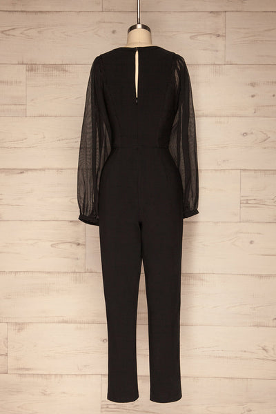 Orestiada Black Jumpsuit with Long Puff Sleeves | La Petite Garçonne back view