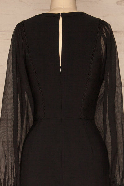 Orestiada Black Jumpsuit with Long Puff Sleeves | La Petite Garçonne back close-up