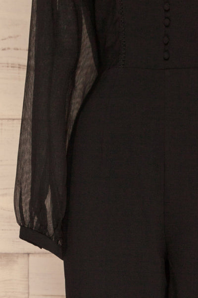 Orestiada Black Jumpsuit with Long Puff Sleeves | La Petite Garçonne sleeve close-up