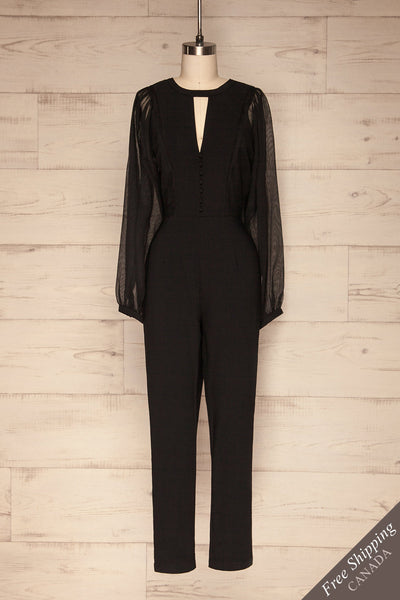 Orestiada Black Jumpsuit with Long Puff Sleeves | La Petite Garçonne front view