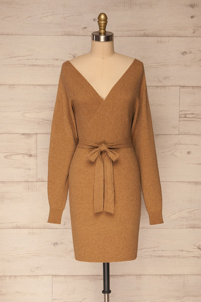 Oria Taupe Faux-Wrap Short Knit Dress | La petite garçonne front view