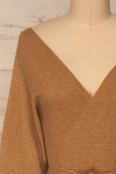 Oria Taupe Faux-Wrap Short Knit Dress | La petite garçonne front close-up