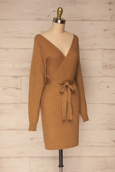 Oria Taupe Faux-Wrap Short Knit Dress | La petite garçonne side view