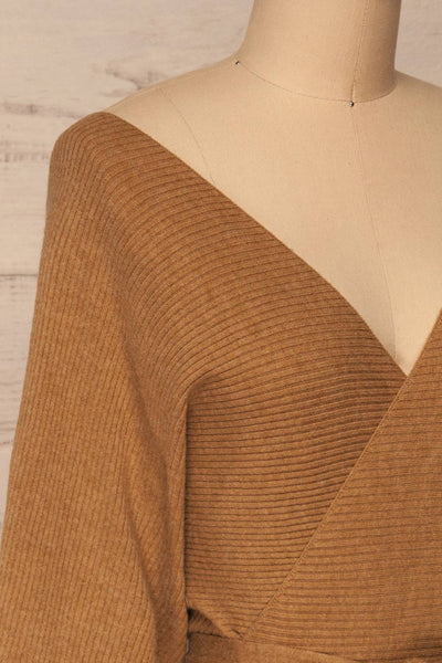 Oria Taupe Faux-Wrap Short Knit Dress | La petite garçonne side close-up