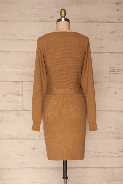Oria Taupe Faux-Wrap Short Knit Dress | La petite garçonne back view