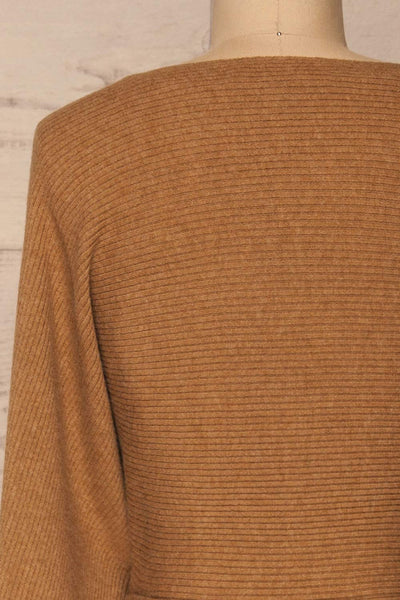 Oria Taupe Faux-Wrap Short Knit Dress | La petite garçonne back close-up