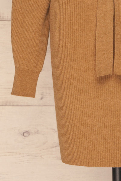 Oria Taupe Faux-Wrap Short Knit Dress | La petite garçonne bottom