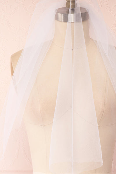 Oriana White Seamless Wedding Veil over close up | Boudoir 1861