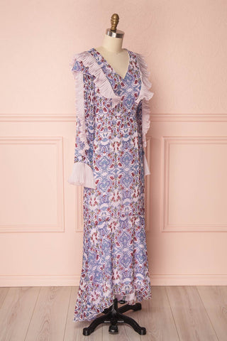Orieta Lilac Pink Floral & Frills Maxi Dress | Boutique 1861