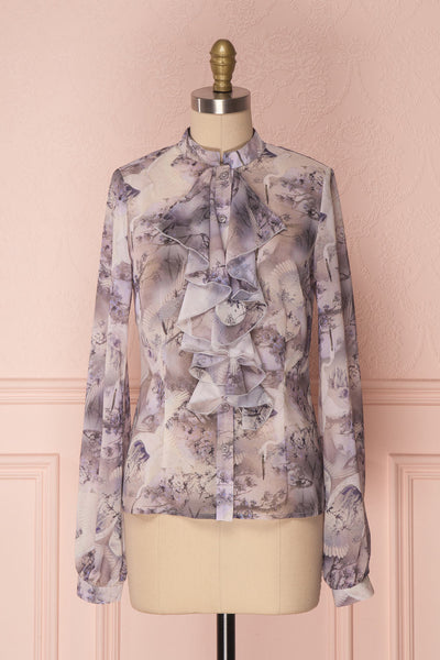 Orlaight Oriental Patterned Retro Blouse with Ruffles | Boutique 1861