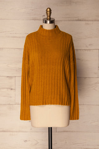 Ormos Mustard Yellow Ribbed Knit Sweater | La Petite Garçonne
