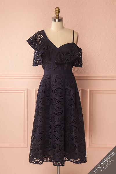Ornora Navy Blue Floral Cut-Outs A-Line Dress | Boutique 1861