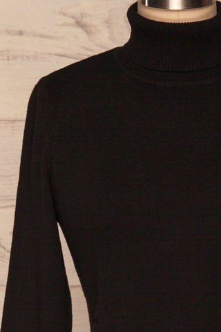 Orphne Black Sweater Dress | Robe Noire | La Petite Garçonne front close-up