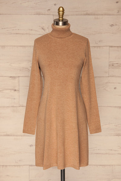Orphne Camel Sweater Dress | Robe Beige | La Petite Garçonne front view