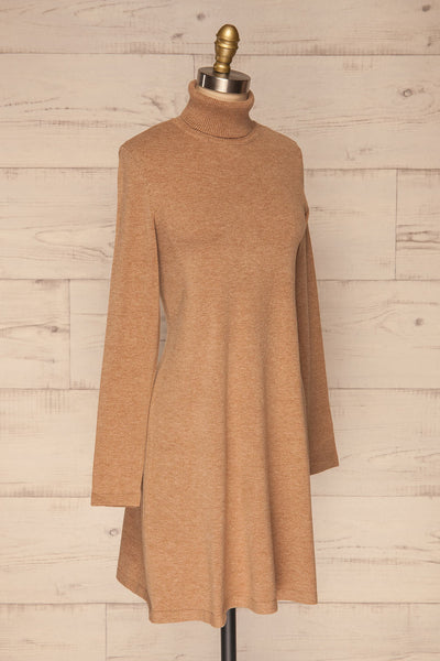 Orphne Camel Sweater Dress | Robe Beige | La Petite Garçonne side view