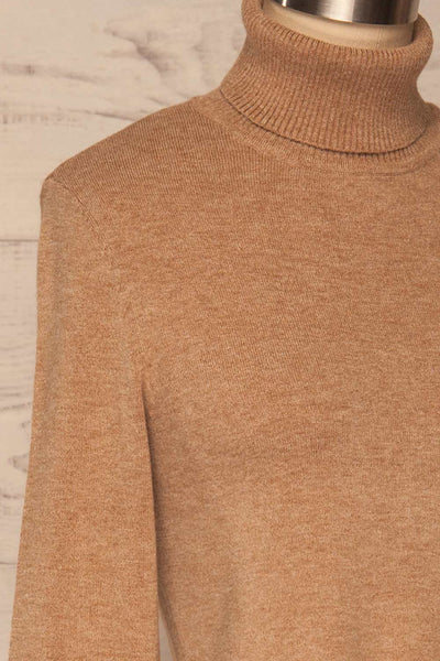 Orphne Camel Sweater Dress | Robe Beige | La Petite Garçonne side close-up