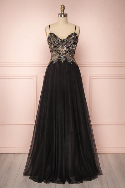 Orria Black A-Line Tulle Gown with Embroidery | Boutique 1861